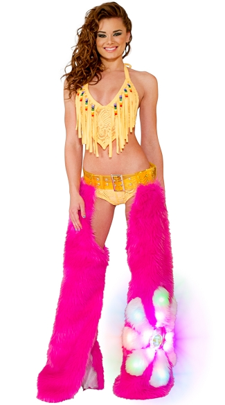 Pink Flower Power Light-Up Chaps Set, Cyclone Lace Fringe Top, Beaded Fringe Top, Lace Fringe Top, Cyclone Lace Short, Lace Shorts, Sheer Lace Shorts, Light-Up Hot Pink Daisy Chaps, Pink Chaps, Dancewear Chaps