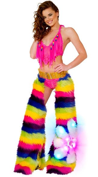 Rainbow Flower Power Bikini and Chaps Set, Cyclone Lace Fringe Top, Beaded Fringe Top, Lace Fringe Top, Cyclone Lace Short, Lace Shorts, Sheer Lace Shorts, Light-Up Rainbow Daisy Chaps, Rainbow Dancewear, Rainbow Ravewear