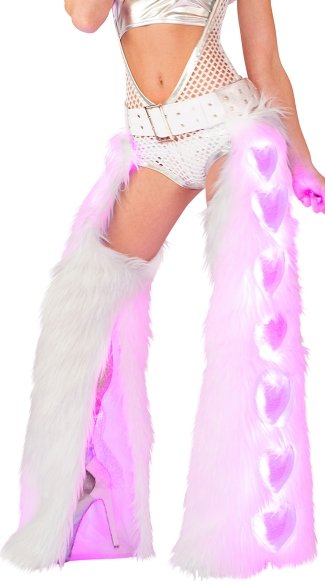 Light-Up Heart White Shag Chaps, Shag Dancewear, Shag Chaps