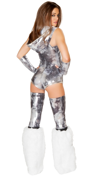 Metallic Galaxy Hooded Romper And Tube Top