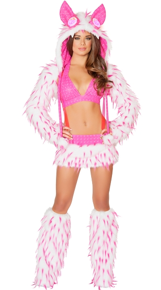 Pink Furry Rave Animal Set, Pink Faux Fur Rave Outfit