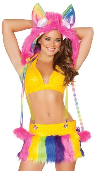 Suspender Skirt And Halter Top, Spiked Fur Light-Up Hood, Rainbow Hood, Light-Up Furry Legwarmers, Legwarmers with Lights