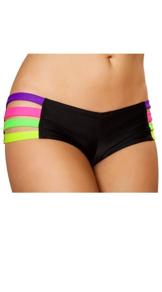 Neon Strap Banded Short, Neon Strappy Shorts