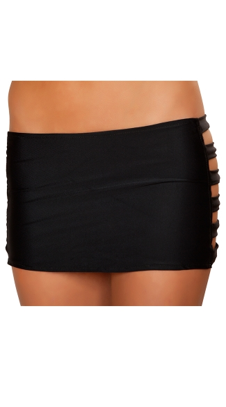 Banded Mini Skirt, Skirt with Cut Out Sides