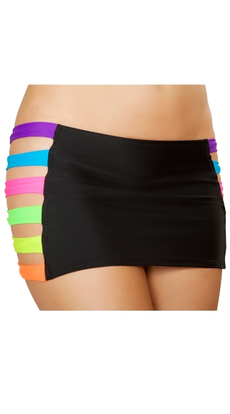 Neon Banded Mini Skirt, Stretch Mini Skirt