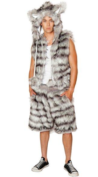 Mens Furry Wolf Costume, Male Wolf Costume, Mens Wolf Halloween Costume