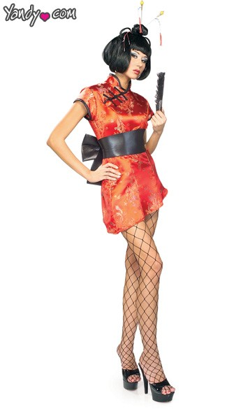Japanese Entertainer Costume, Geisha Entertainer Halloween Costume, Japanese Performer Costume