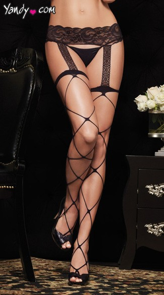 Jumbo Net Garterbelt Stockings