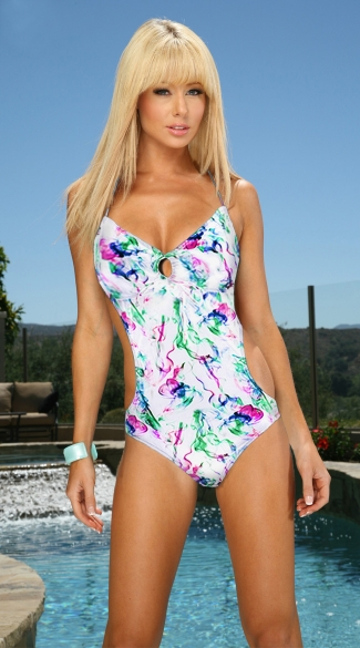White Smoke Monokini, White Patterned Monokini
