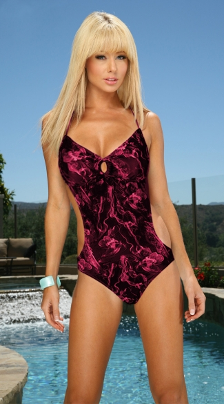 Black and Pink Smoke Monokini, Black and Pink Patterned One Piece