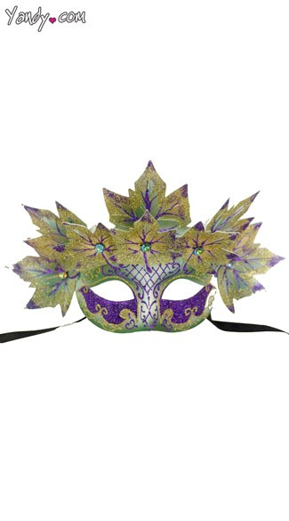 Venetian Styled Mask with Leaves, Mardi Gras Leaf Mask