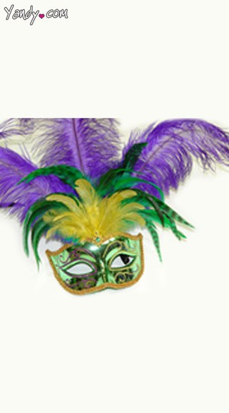Feathered Mardi Gras Mask, Shiny Mask with Feathers