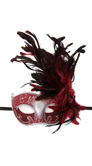 Venetian Styled Mask with Feather on Top Side