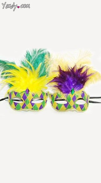 Diamond Mardi Gras Mask with Feathers, Venetian Mask with Feathers
