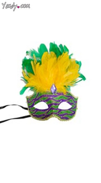Venetian Animal Print Mask with Short Feathers, Animal Print Mardi Gras Mask
