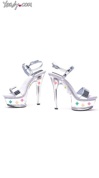 "6"" Heel Mirror Sandal With Multicolor Lights"