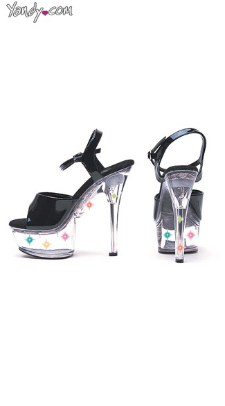 "6"" Heel Black Sandal With Multicolor Lights, Black and Clear Platform"