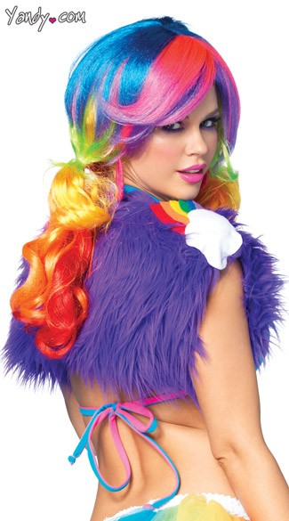 Furry Vest with Rainbow Shoulder