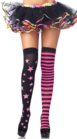 Stars And Stripes Thigh Highs, Striped and Star Print Stockings