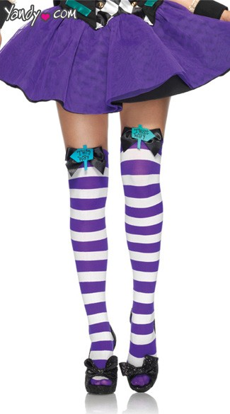 Mad Hatter Thigh Highs, Mad Hatter Stockings, Alice in Wonderland Stockings