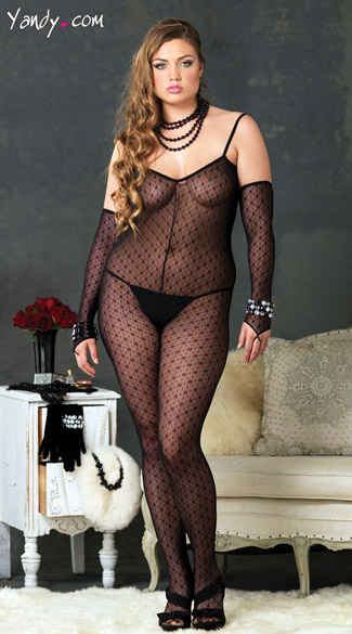 Plus Size Mini Daisy Lace Bodystocking with Attached Sleeves and Low Criss Cross Strapped Back, Plus Size Bodystocking, Plus Size Sheer Bodystocking