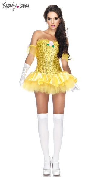 Enchanting Beauty Costume, Sequin Beauty Costume, Sequin Costume, Yellow Costume, Yellow Princess Costume, Fairy Tale Costume
