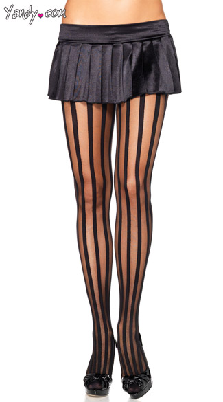 Black Striped Pantyhose