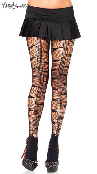 Striped Front Pantyhose, Opaque Back Pantyhose