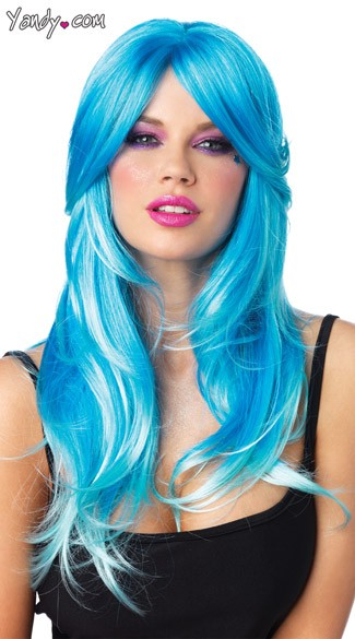 blue glow wig two tone wig blue costume wig wavy neon blue wig - Colored Wig