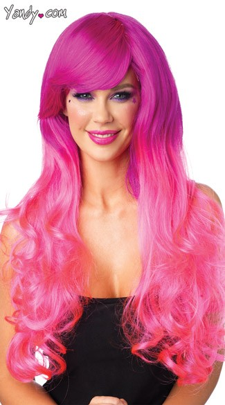 Pink Two Tone Wig, Long Pink Wig, Curly Pink Wig