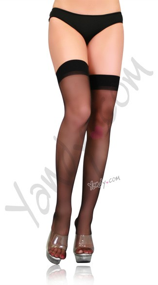 Plus Size Sheer Backseam Stockings, Plus Size Sexy Sheer Thigh High Stockings