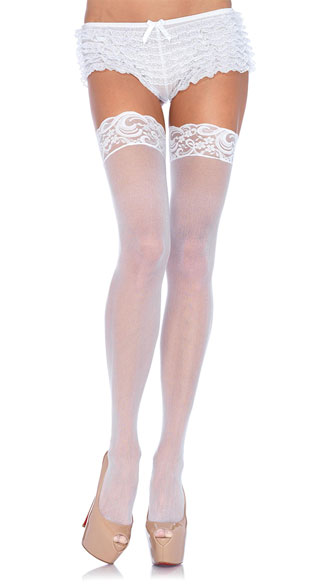 Nylon Sheer Thigh Highs with Lace Top, Thigh High Stockings with Lace Trim Top,  Thigh High Stocking Lace Top, Lace Top Thigh High