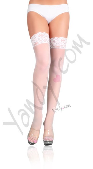 Plus Size Nylon Sheer Thigh Highs with Lace Top