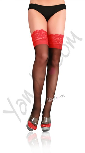 Lycra Sheer Cuban Heel Backseam Stockings with Lace Up Top