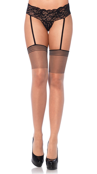 Lace Garter Panty with Attached Nude Stockings, Nude Thigh Highs, Lace Garter Stockings