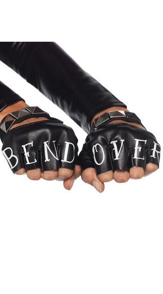 Wet Look Bend Over Gloves, Wet Look Bondage Glove Accessories, Bondage Gloves