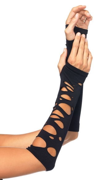 Distressed Arm Warmers, Black Arm Warmers, Cut Out Gloves, Fingerless Gloves