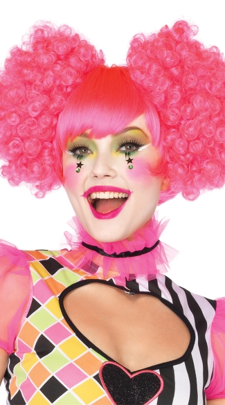 Neon Pink Harlequin Wig, Pink Curly Wig, Pink Clown Wig, Hot Pink Wig