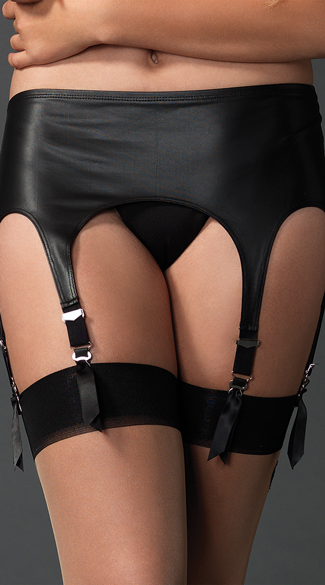 Matte Rubber Six Strap Garter Belt, Leather Garter Belt, Black Garter Belt