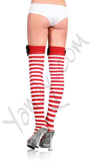 Nylon Striped Stockings with Belt Buckle Top
