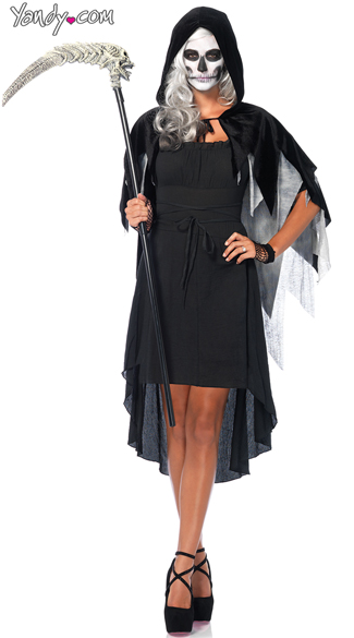 Phantom Hooded Cape, Black Hooded Cape Costume, Black Gauze Hooded Cape, Set Of Distressed Net Fingerless Gloves, Wrist Length Distressed Net Gloves, 6 Velvet Pump with Straps, 6 Inch Heels, Velvet Heels, Velvet Shoes, Burgundy Peasant Dress, Sexy Greek Costume, Sexy Roman Costume