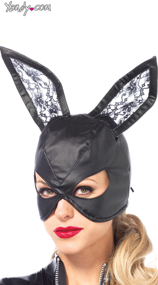 Faux Leather Bunny Mask, Black Bunny Mask, Faux Leather Bunny Mask