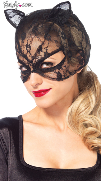 Lace Cat Mask With Lace Up Back, Lace Cat Mask, Sexy Cat Accessories