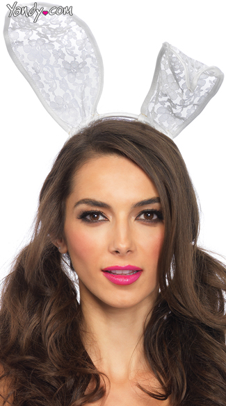 Lace Bunny Ears, White Lace Bunny Ear Headband, Sexy White Bunny Ear Headband