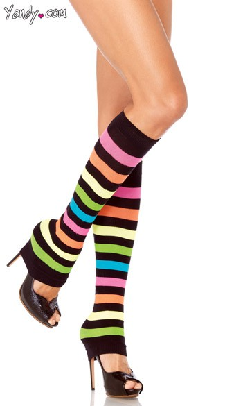 Neon Rainbow Leg Warmers, Knit Legwarmers, Striped Legwarmers