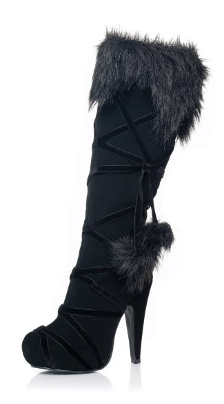 Snow Angel Knee High Boots, Knee High Boots, Black Fur Boots