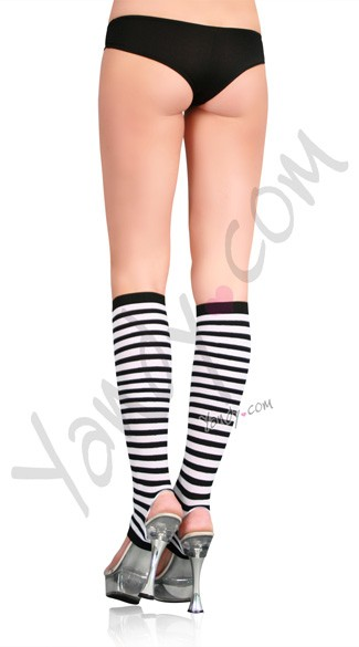 Nylon Striped Stirrup Knee Highs