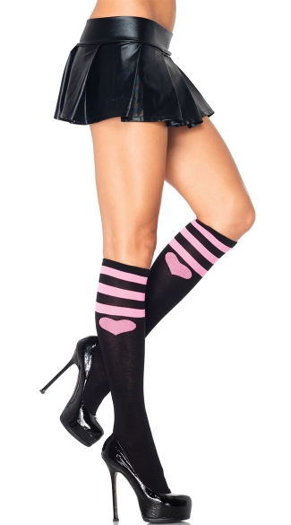 Sweetheart Striped Knee Socks, Heart Stockings, Knee Socks with Heart