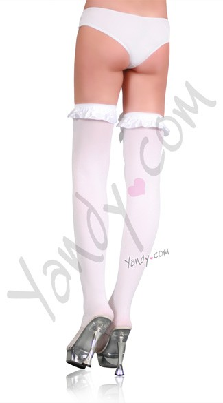 Opaque Thigh Highs with Satin Ruffle Trim and Bow