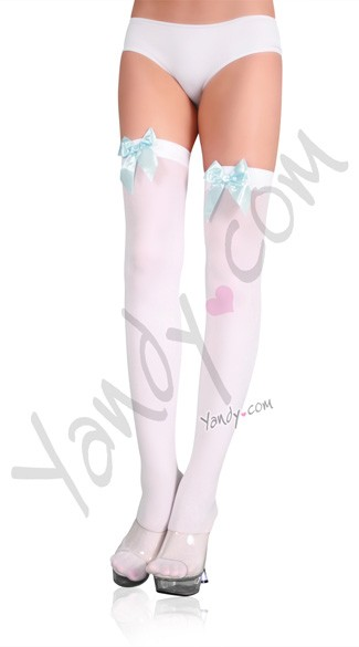 Opaque Thigh Highs with Satin Bow